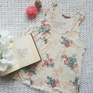 Julie's Closet Floral Print Racerback tank w Lace
